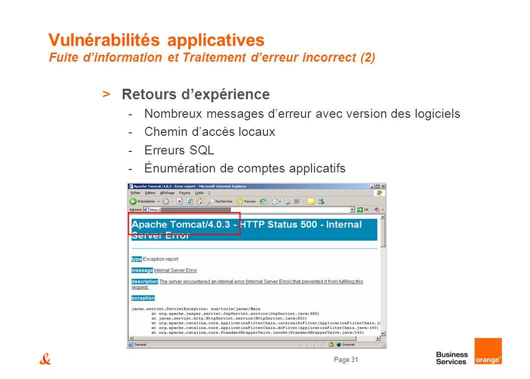 Page 31 Vulnérabilités applicatives Fuite dinformation et Traitement derreur incorrect (2) >Retours dexpérience -Nombreux messages derreur avec versio