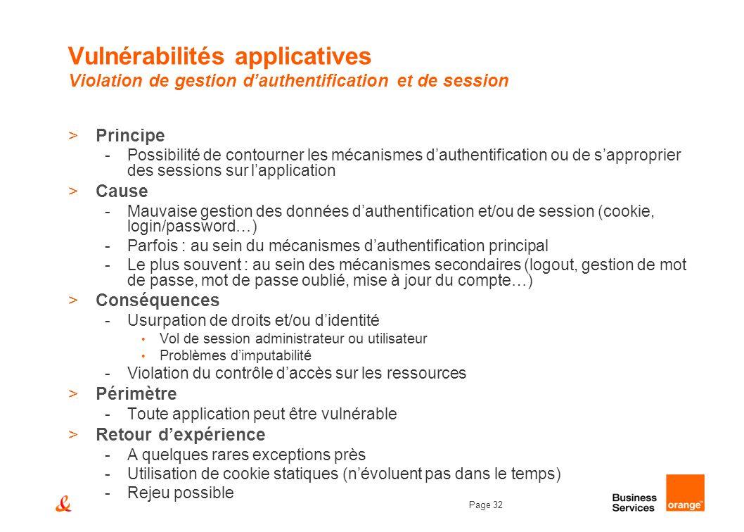 Page 32 Vulnérabilités applicatives Violation de gestion dauthentification et de session >Principe -Possibilité de contourner les mécanismes dauthenti