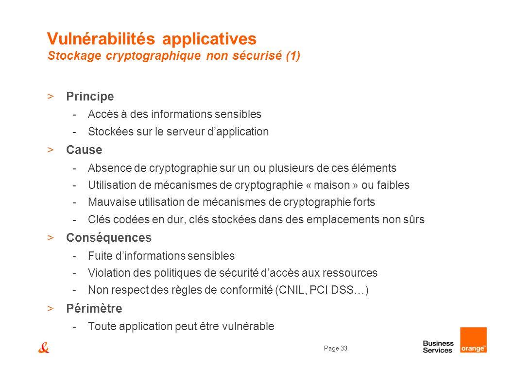 Page 33 Vulnérabilités applicatives Stockage cryptographique non sécurisé (1) >Principe -Accès à des informations sensibles -Stockées sur le serveur d