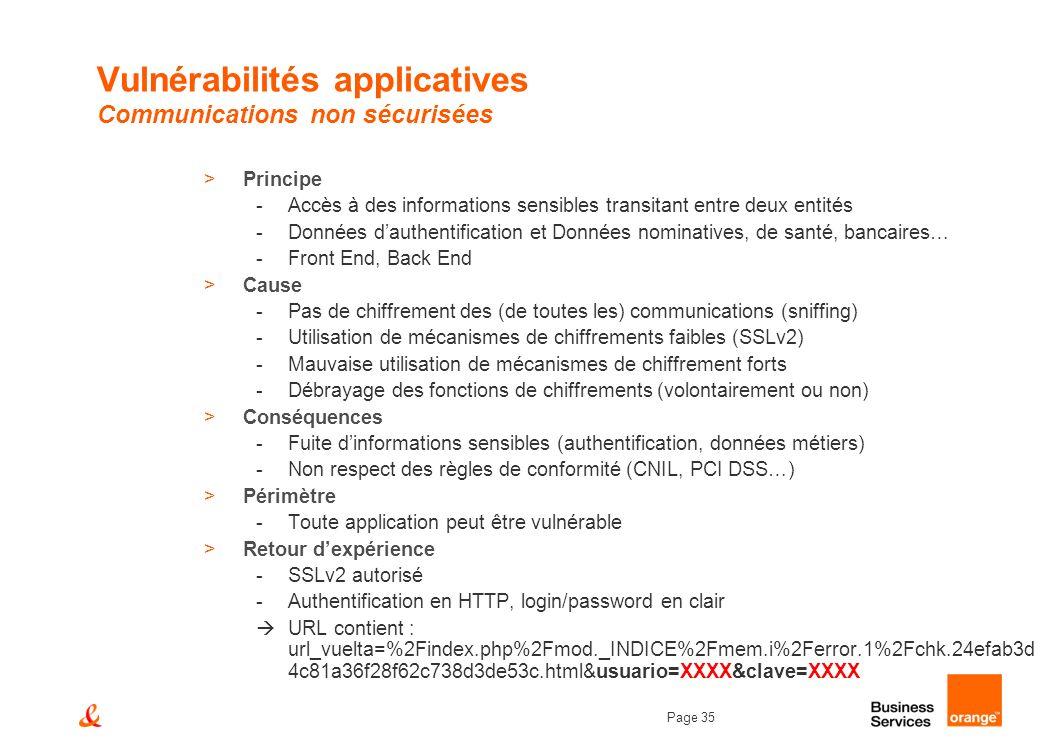 Page 35 Vulnérabilités applicatives Communications non sécurisées >Principe -Accès à des informations sensibles transitant entre deux entités -Données