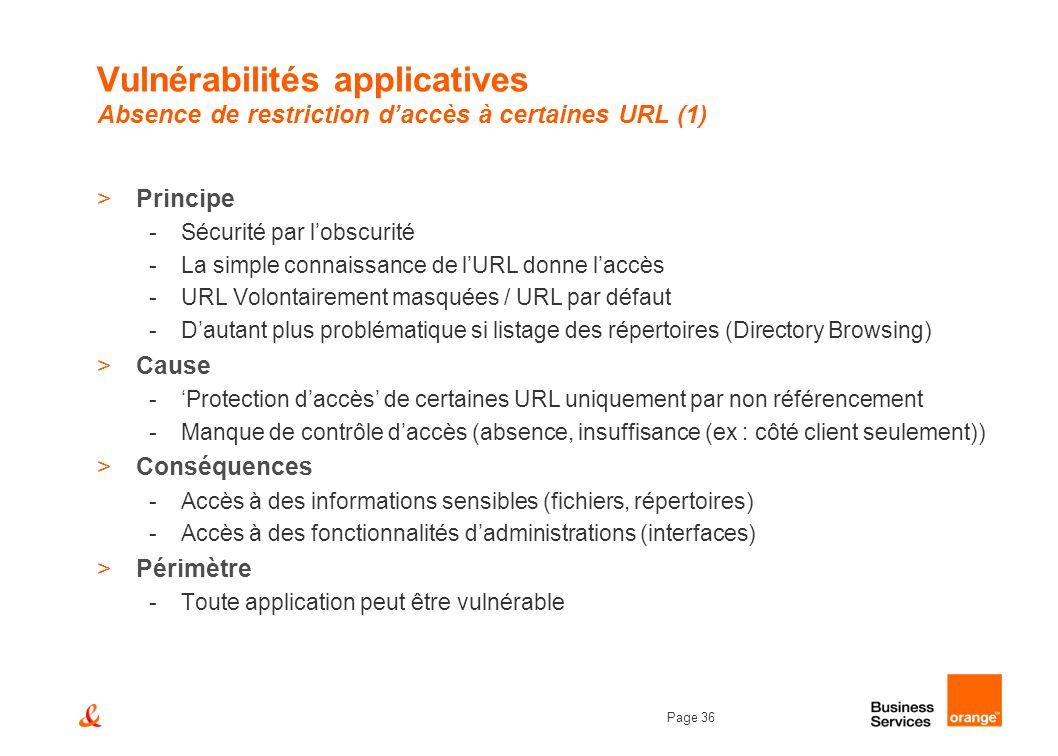 Page 36 Vulnérabilités applicatives Absence de restriction daccès à certaines URL (1) >Principe -Sécurité par lobscurité -La simple connaissance de lU