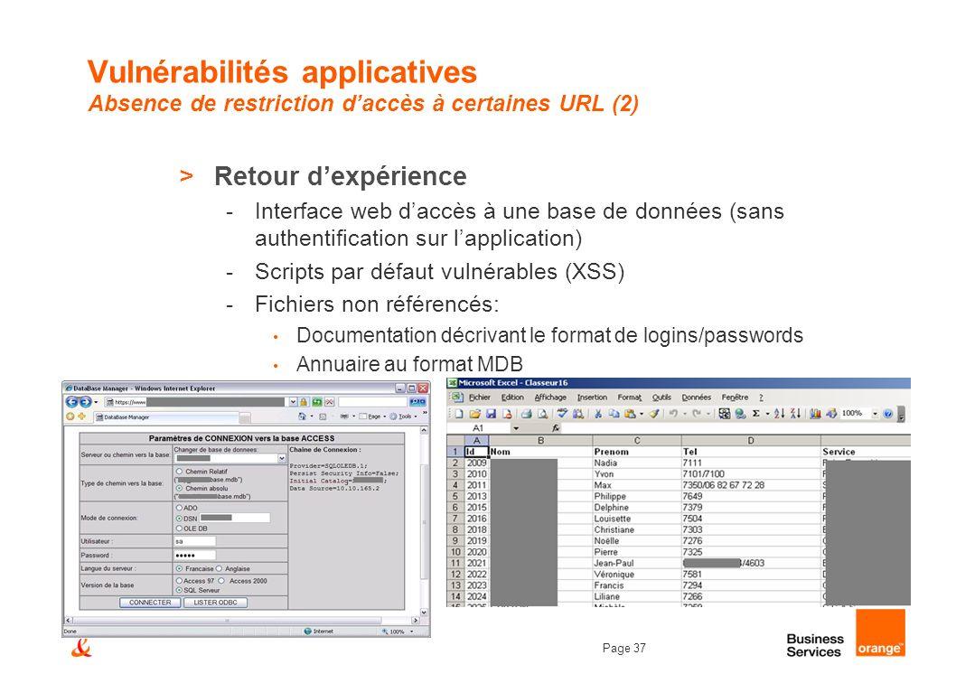 Page 37 Vulnérabilités applicatives Absence de restriction daccès à certaines URL (2) >Retour dexpérience -Interface web daccès à une base de données
