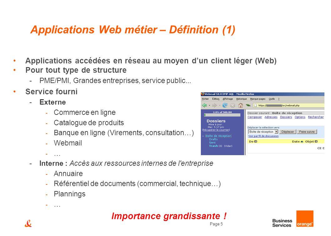 Page 5 Applications Web métier – Définition (1) Applications accédées en réseau au moyen dun client léger (Web) Pour tout type de structure -PME/PMI,
