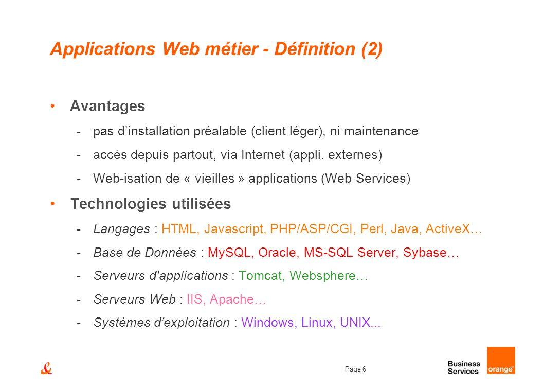 Page 6 Applications Web métier - Définition (2) Avantages -pas dinstallation préalable (client léger), ni maintenance -accès depuis partout, via Inter