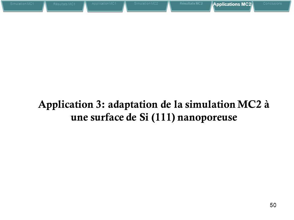 50 Application 3: adaptation de la simulation MC2 à une surface de Si (111) nanoporeuse Simulation MC1 Résultats MC1 Application MC1Conclusions Simulation MC2 Résultats MC2 Applications MC2