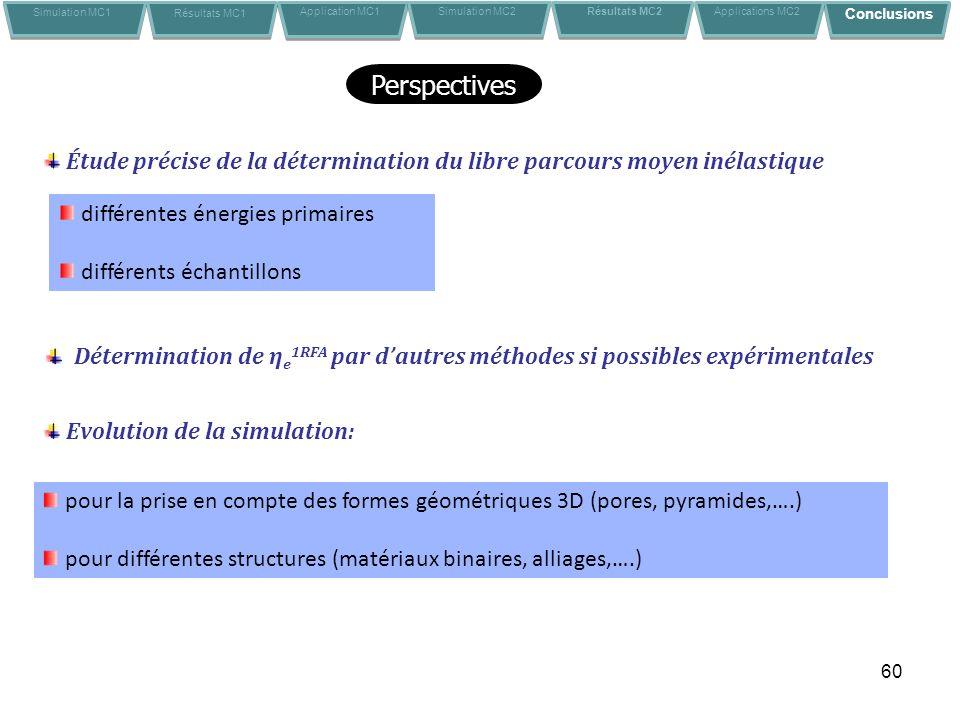 60 Perspectives Détermination de η e 1RFA par dautres méthodes si possibles expérimentales Evolution de la simulation: pour la prise en compte des for