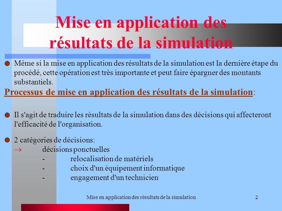 2 Même si la mise en application des résultats de la simulation est la dernière étape du procédé, cette opération est très importante et peut faire épargner des montants substantiels.