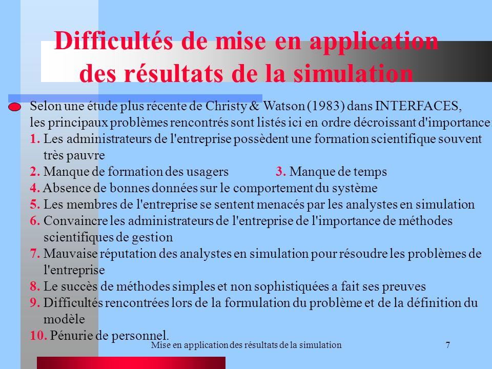 Mise en application des résultats de la simulation7 Difficultés de mise en application des résultats de la simulation Selon une étude plus récente de Christy & Watson (1983) dans INTERFACES, les principaux problèmes rencontrés sont listés ici en ordre décroissant d importance: 1.