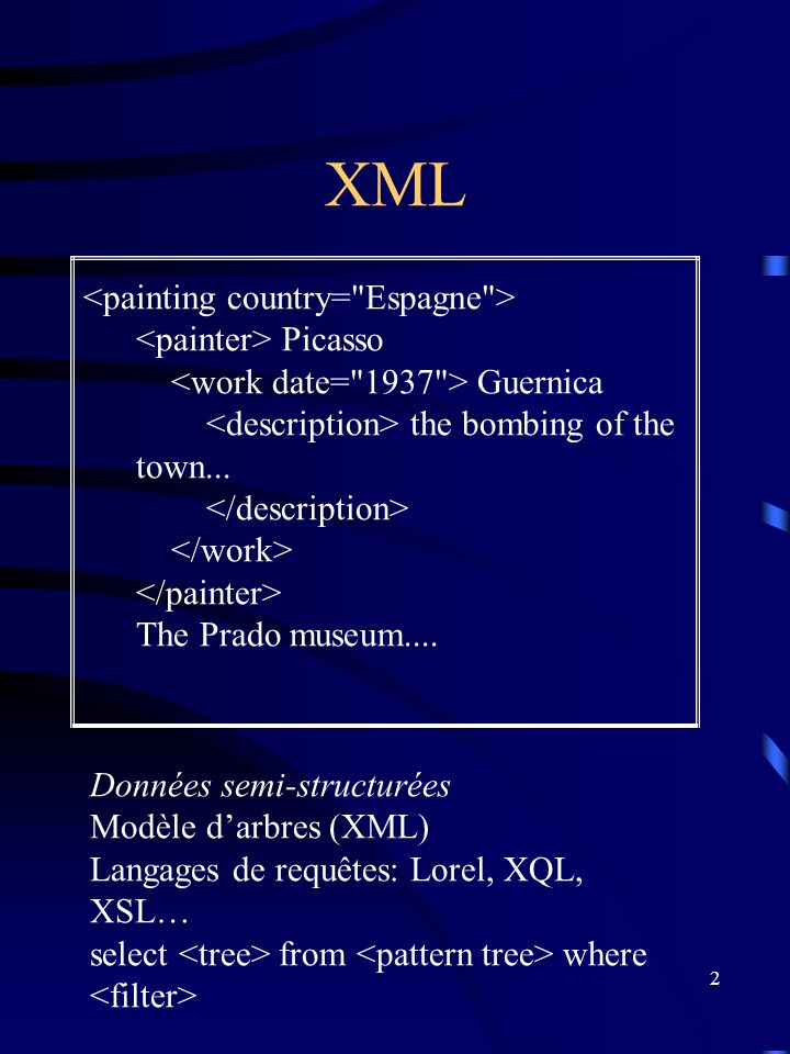 2 XML Données semi-structurées Modèle darbres (XML) Langages de requêtes: Lorel, XQL, XSL… select from where Picasso Guernica the bombing of the town...