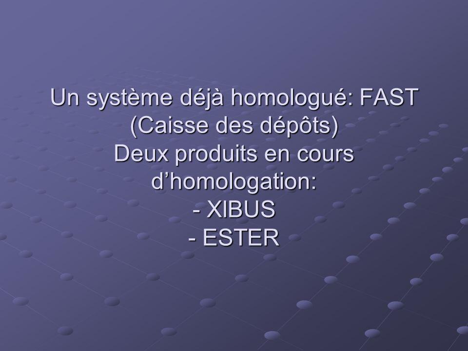 Un système déjà homologué: FAST (Caisse des dépôts) Deux produits en cours dhomologation: - XIBUS - ESTER