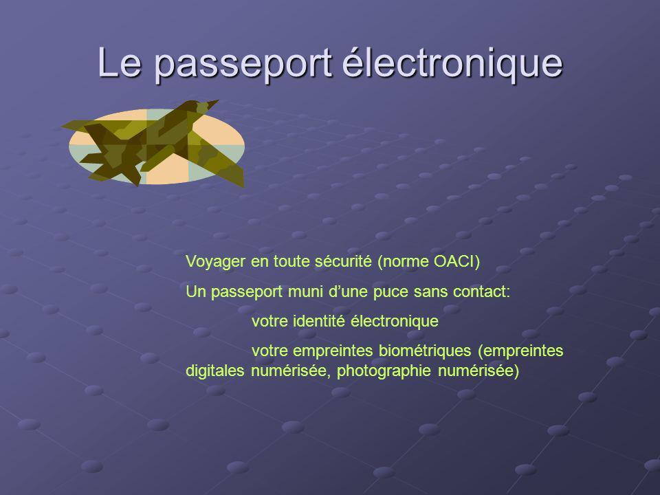 Le passeport électronique Voyager en toute sécurité (norme OACI) Un passeport muni dune puce sans contact: votre identité électronique votre empreinte