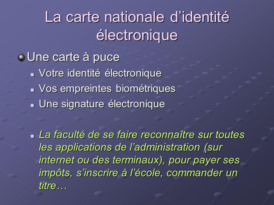 La carte nationale didentité électronique Une carte à puce Votre identité électronique Votre identité électronique Vos empreintes biométriques Vos emp