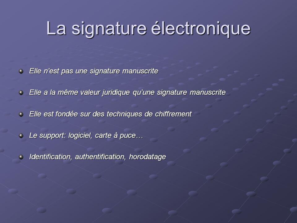 La signature électronique Elle nest pas une signature manuscrite Elle a la même valeur juridique quune signature manuscrite Elle est fondée sur des te