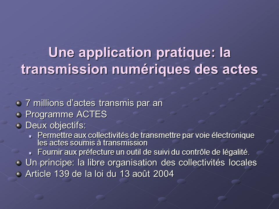 Une application pratique: la transmission numériques des actes 7 millions dactes transmis par an Programme ACTES Deux objectifs: Permettre aux collect
