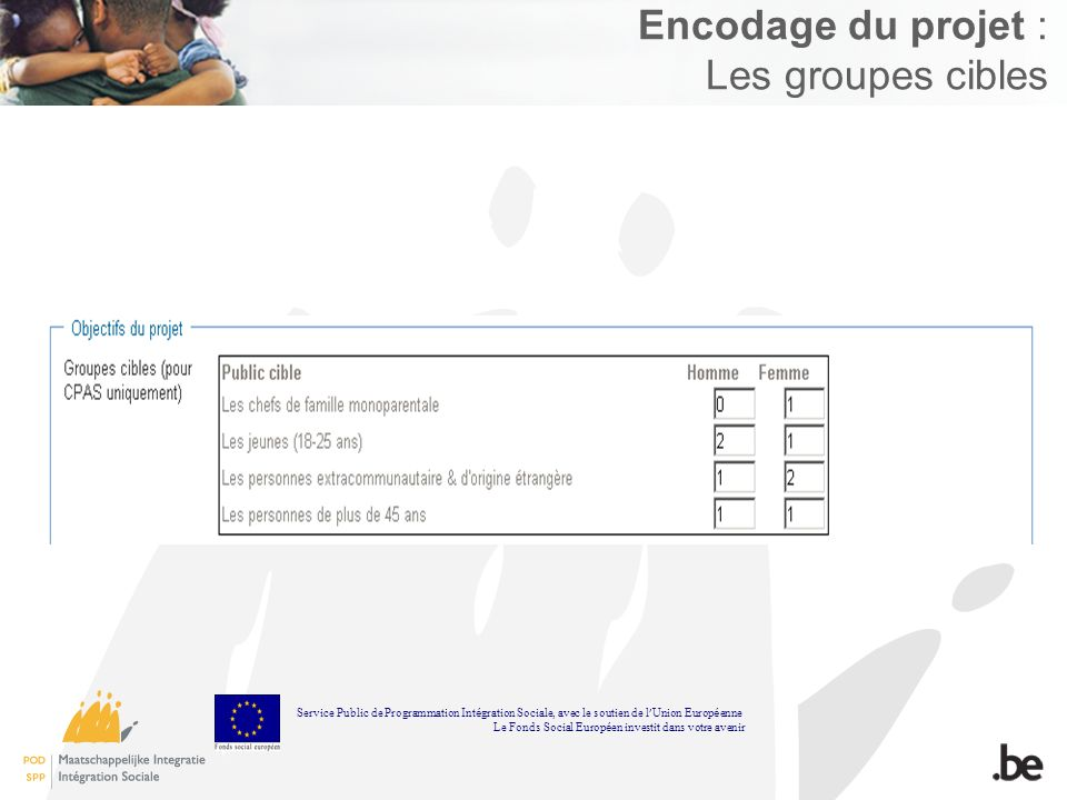 Encodage du projet : Les groupes cibles Service Public de Programmation Int é gration Sociale, avec le soutien de l Union Europ é enne Le Fonds Social Europ é en investit dans votre avenir