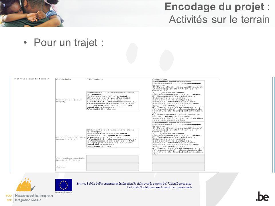Encodage du projet : Activités sur le terrain Pour un trajet : Service Public de Programmation Int é gration Sociale, avec le soutien de l Union Europ é enne Le Fonds Social Europ é en investit dans votre avenir