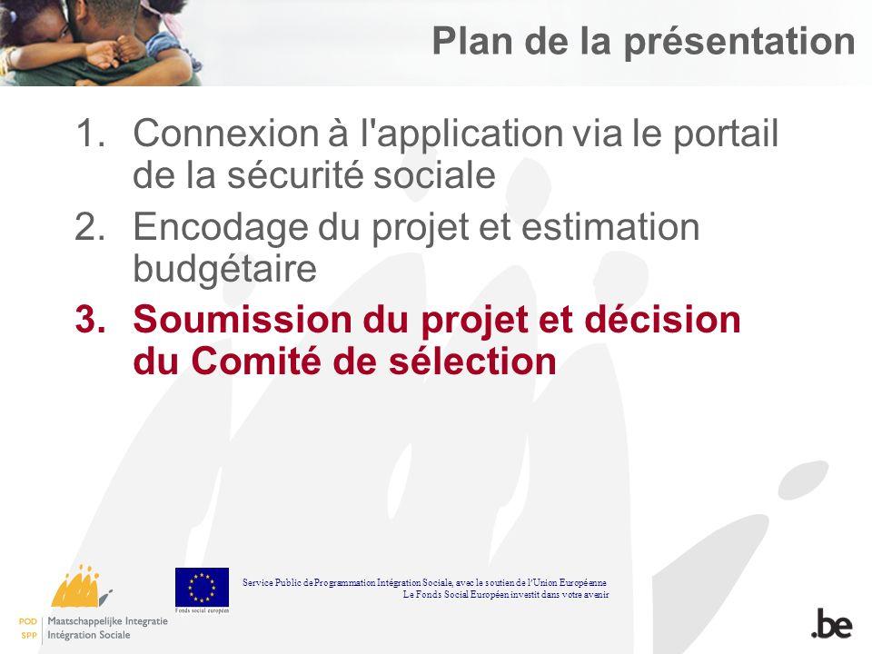 Plan de la présentation 1.Connexion à l'application via le portail de la sécurité sociale 2.Encodage du projet et estimation budgétaire 3.Soumission d