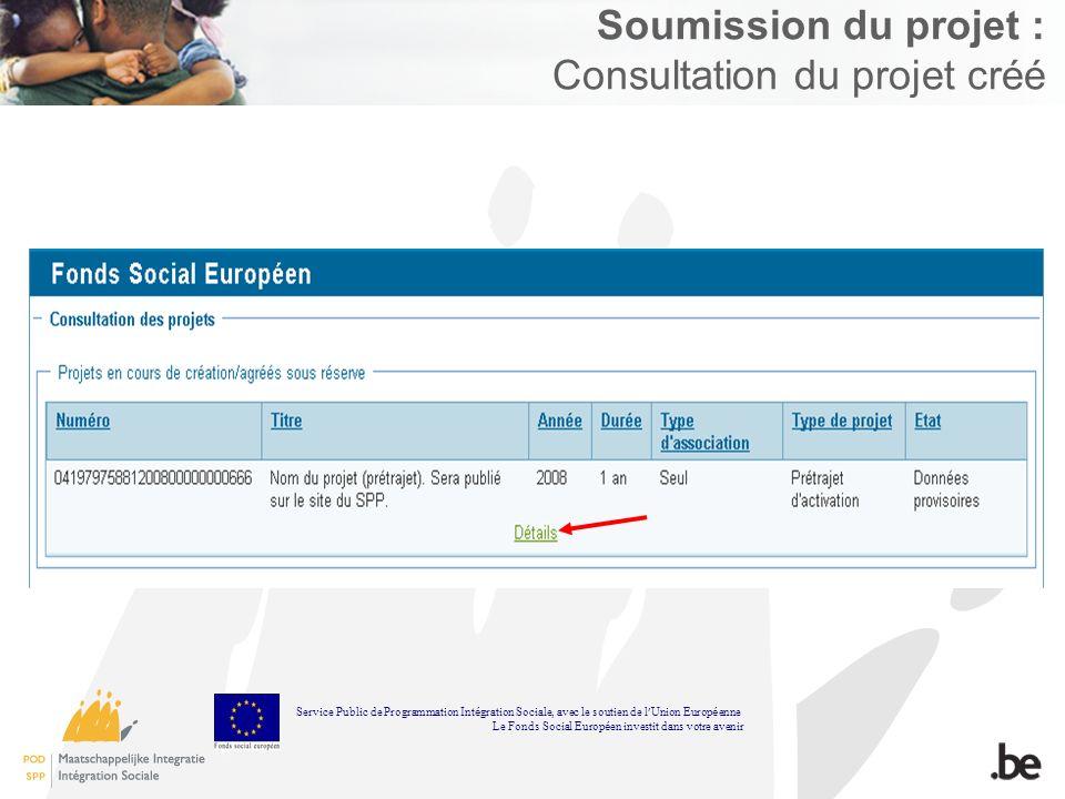 Soumission du projet : Consultation du projet créé Service Public de Programmation Int é gration Sociale, avec le soutien de l Union Europ é enne Le Fonds Social Europ é en investit dans votre avenir