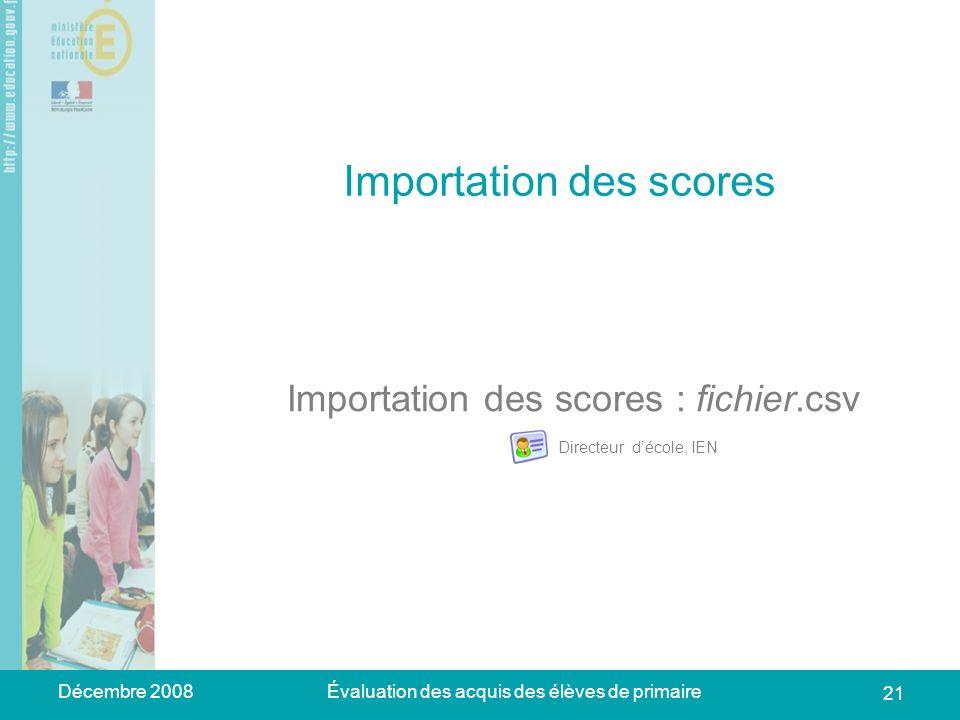 Décembre 2008Évaluation des acquis des élèves de primaire 21 Importation des scores Importation des scores : fichier.csv Directeur décole, IEN