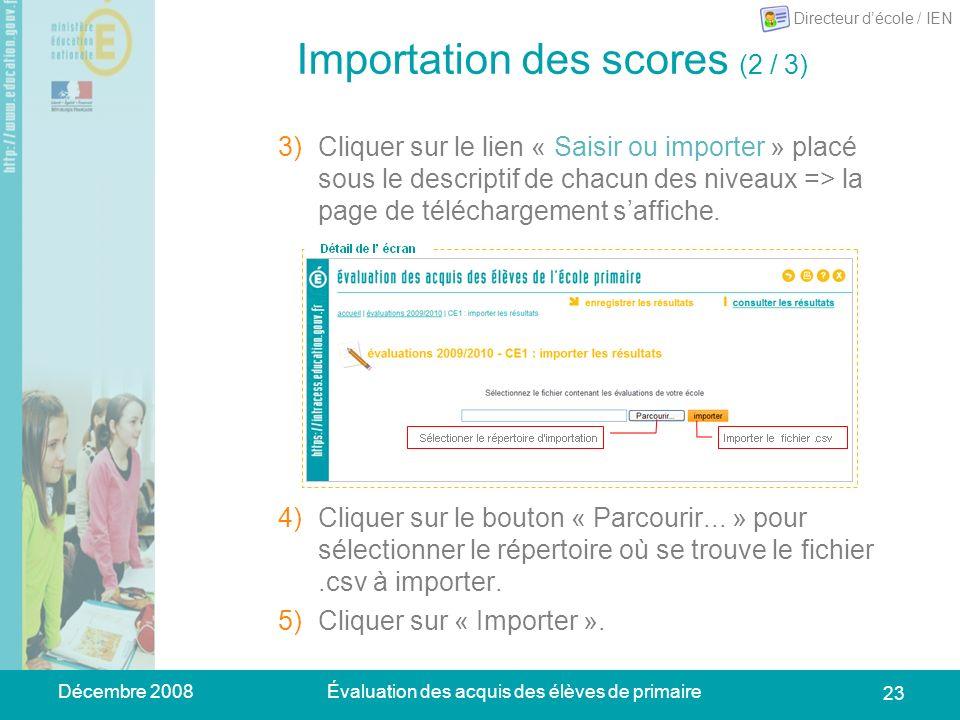 Décembre 2008Évaluation des acquis des élèves de primaire 23 Importation des scores (2 / 3) 3)Cliquer sur le lien « Saisir ou importer » placé sous le descriptif de chacun des niveaux => la page de téléchargement saffiche.