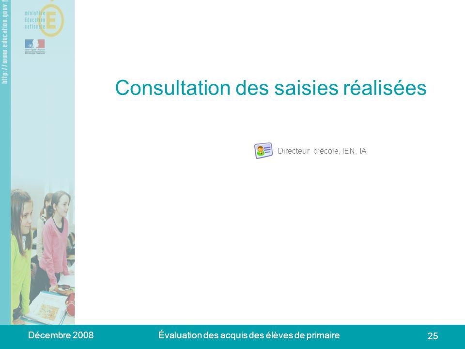 Décembre 2008Évaluation des acquis des élèves de primaire 25 Consultation des saisies réalisées Directeur décole, IEN, IA