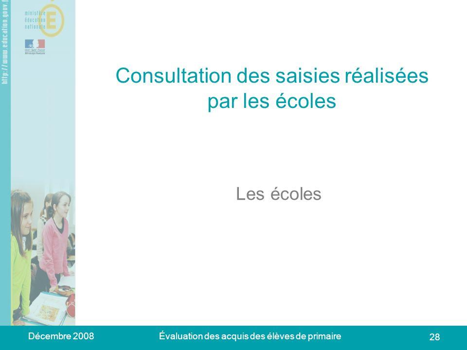 Décembre 2008Évaluation des acquis des élèves de primaire 28 Consultation des saisies réalisées par les écoles Les écoles
