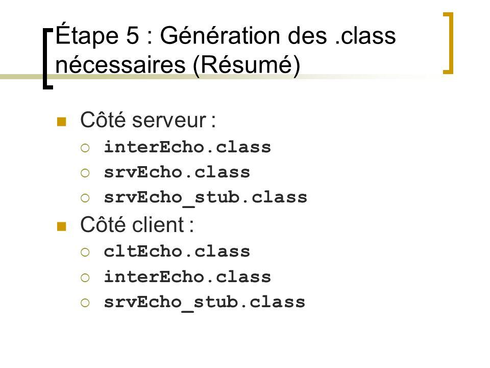 Étape 5 : Génération des.class nécessaires (Résumé) Côté serveur : interEcho.class srvEcho.class srvEcho_stub.class Côté client : cltEcho.class interE