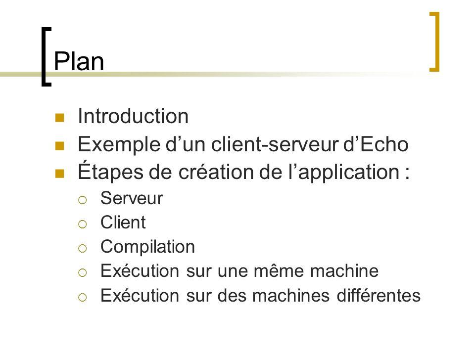 Plan Introduction Exemple dun client-serveur dEcho Étapes de création de lapplication : Serveur Client Compilation Exécution sur une même machine Exéc