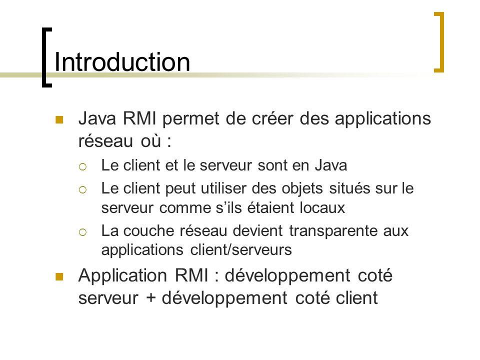 Introduction Java RMI permet de créer des applications réseau où : Le client et le serveur sont en Java Le client peut utiliser des objets situés sur