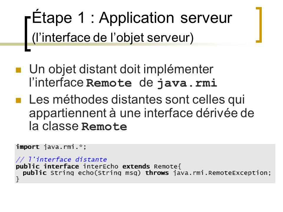 Étape 1 : Application serveur (linterface de lobjet serveur) Un objet distant doit implémenter linterface Remote de java.rmi Les méthodes distantes so