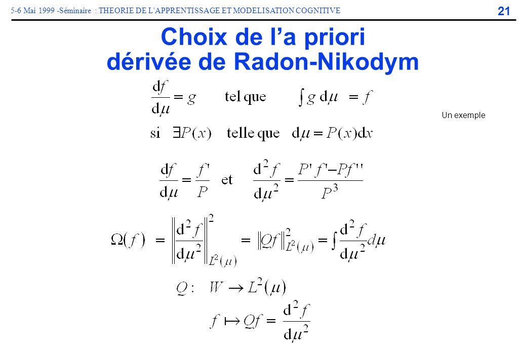 21 5-6 Mai 1999 -Séminaire : THEORIE DE L'APPRENTISSAGE ET MODELISATION COGNITIVE Choix de la priori dérivée de Radon-Nikodym Un exemple