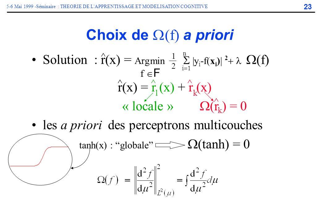 23 5-6 Mai 1999 -Séminaire : THEORIE DE L'APPRENTISSAGE ET MODELISATION COGNITIVE Solution : r(x) = Arg r(x) = r (x) + r (x) « locale » (r ) = 0 les a