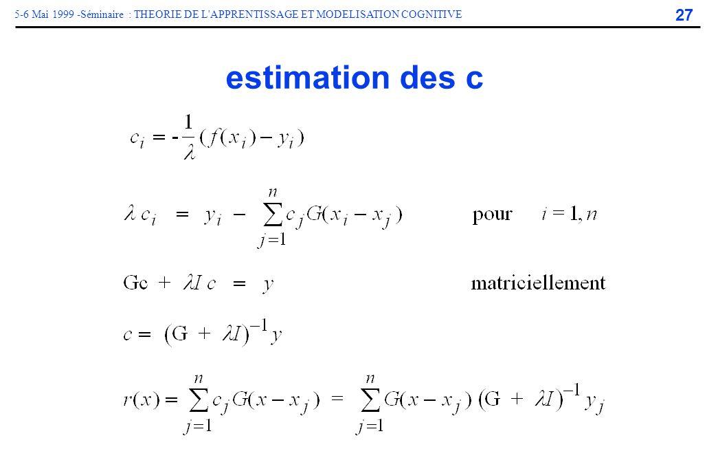 27 5-6 Mai 1999 -Séminaire : THEORIE DE L'APPRENTISSAGE ET MODELISATION COGNITIVE estimation des c