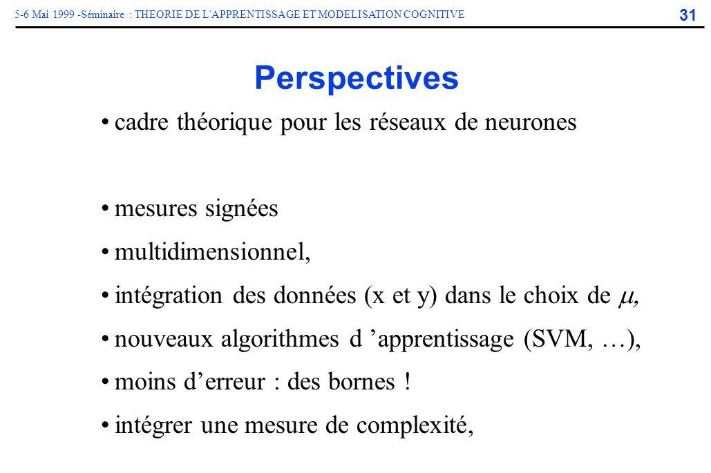 31 5-6 Mai 1999 -Séminaire : THEORIE DE L'APPRENTISSAGE ET MODELISATION COGNITIVE Perspectives cadre théorique pour les réseaux de neurones mesures si