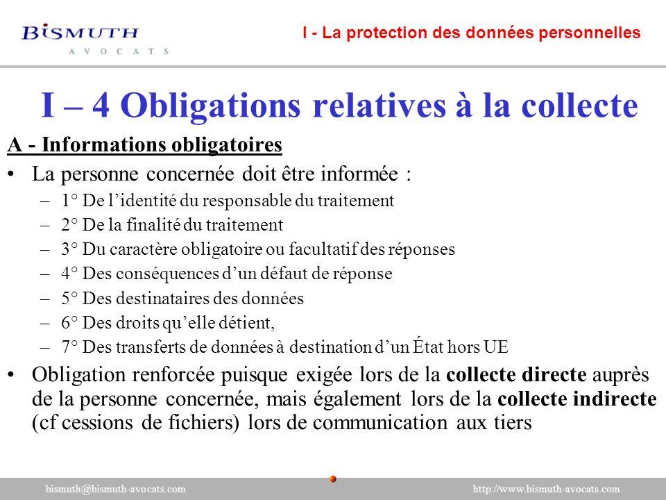 I – 4 Obligations relatives à la collecte A - Informations obligatoires La personne concernée doit être informée : –1° De lidentité du responsable du