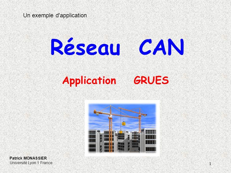 1 Réseau CAN Application GRUES Un exemple d'application Patrick MONASSIER Université Lyon 1 France