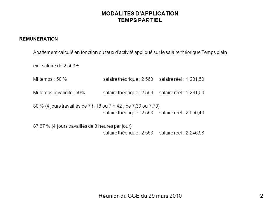 Réunion du CCE du 29 mars 20102 MODALITES DAPPLICATION TEMPS PARTIEL REMUNERATION Abattement calculé en fonction du taux dactivité appliqué sur le sal