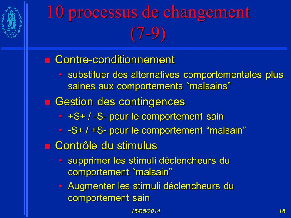 18/05/201416 10 processus de changement (7-9) Contre-conditionnement Contre-conditionnement substituer des alternatives comportementales plus saines a