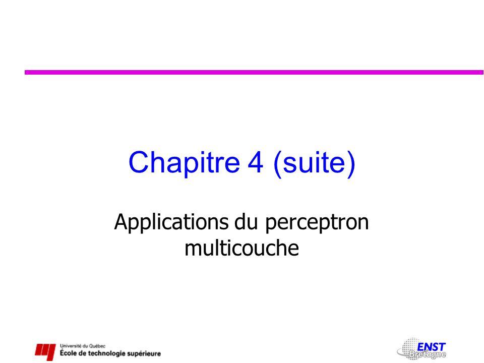 Chapitre 4 (suite) Applications du perceptron multicouche