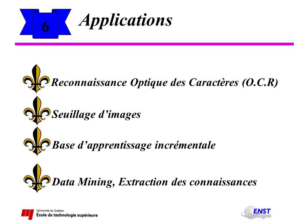 6 Applications Reconnaissance Optique des Caractères (O.C.R) Seuillage dimages Base dapprentissage incrémentale Data Mining, Extraction des connaissan