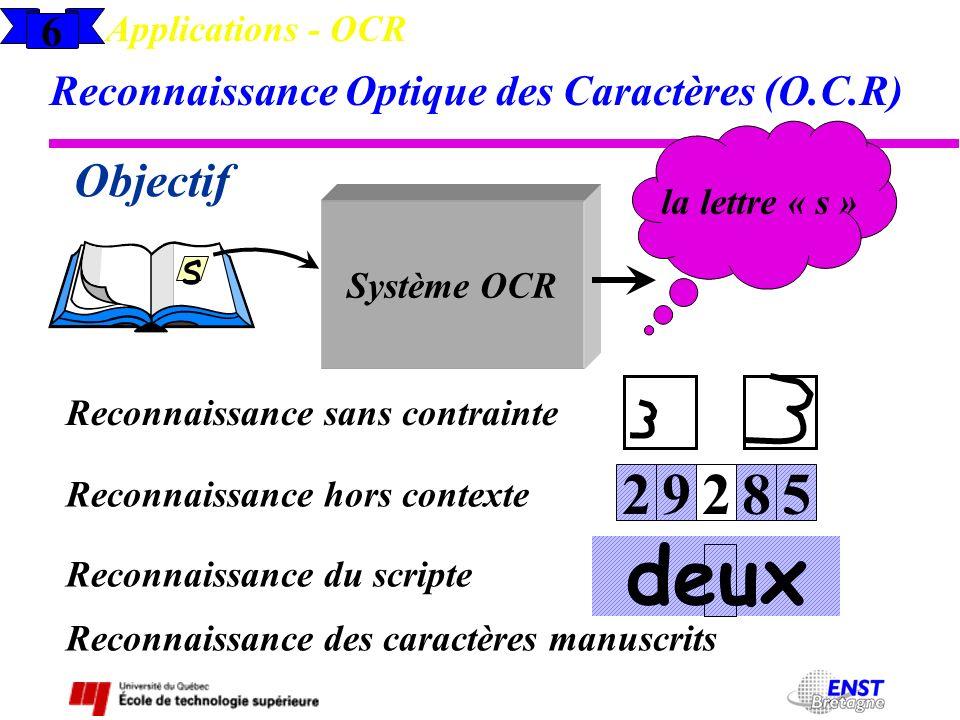 6 Applications - OCR Reconnaissance Optique des Caractères (O.C.R) Objectif s Système OCR la lettre « s » Reconnaissance sans contrainte Reconnaissanc