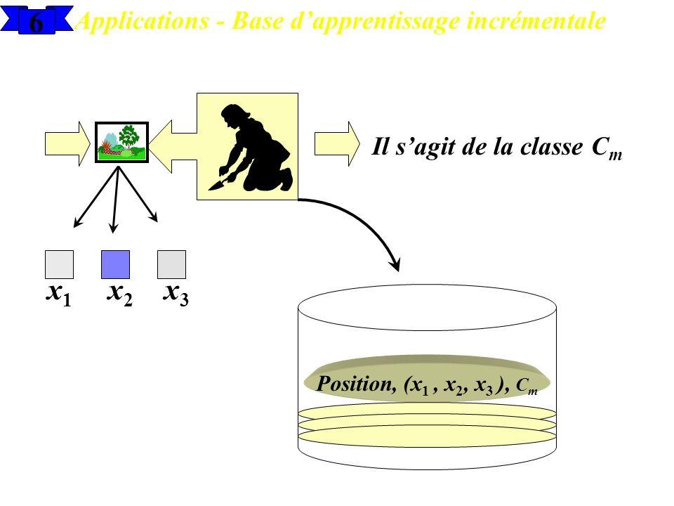 6 Applications - Base dapprentissage incrémentale x1x1 x2x2 x3x3 Il sagit de la classe C m Position, (x 1, x 2, x 3 ), C m