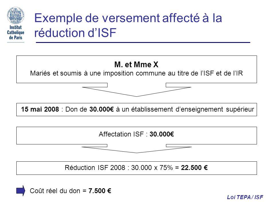 Exemple de versement affecté à la réduction dISF Loi TEPA / ISF M. et Mme X Mariés et soumis à une imposition commune au titre de lISF et de lIR 15 ma