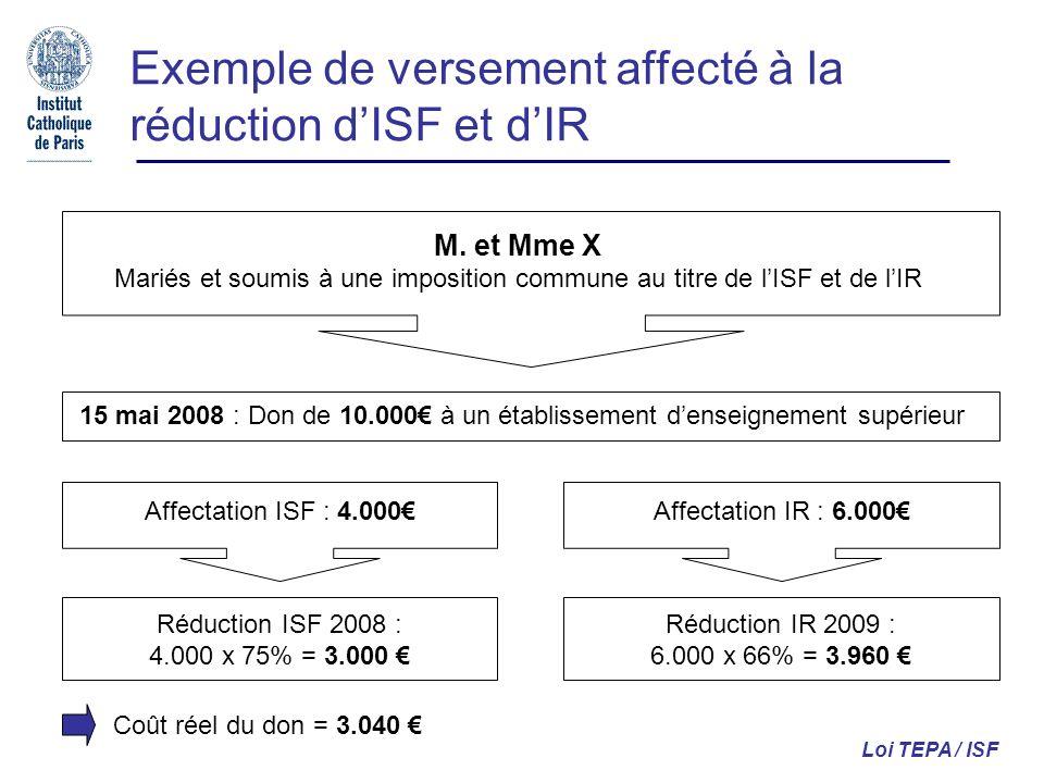 Exemple de versement affecté à la réduction dISF et dIR Loi TEPA / ISF M. et Mme X Mariés et soumis à une imposition commune au titre de lISF et de lI