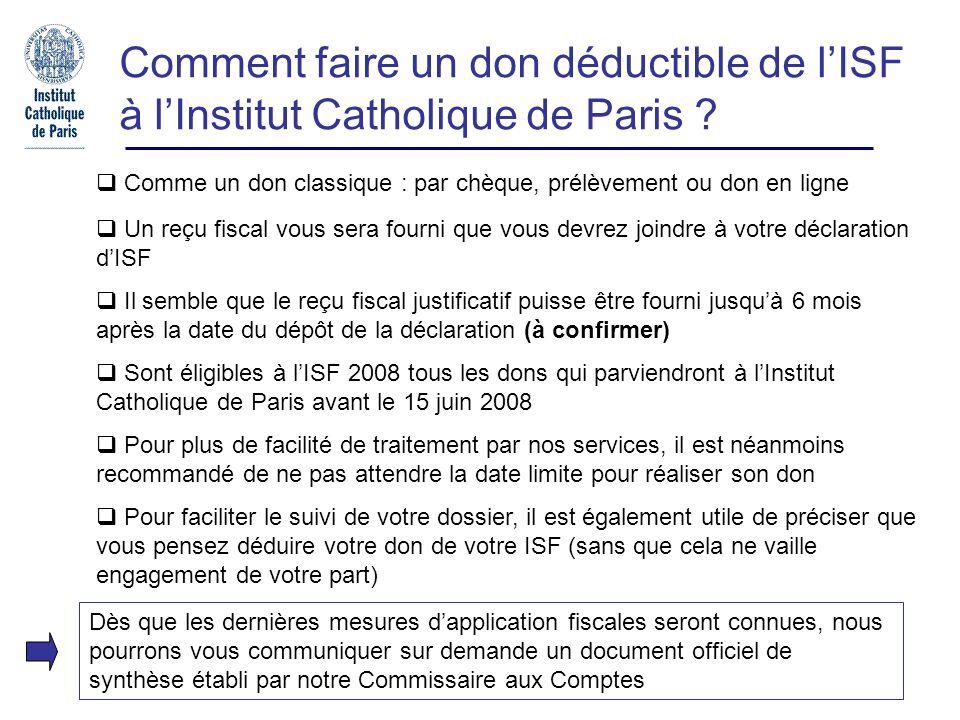 Pour nous joindre Relations donateurs : Mlle Silvia Hernandez Tel : 01 44 39 84 82 E-mail : s.hernandez@icp.fr Loi TEPA / ISF Responsable du Mécénat : M.