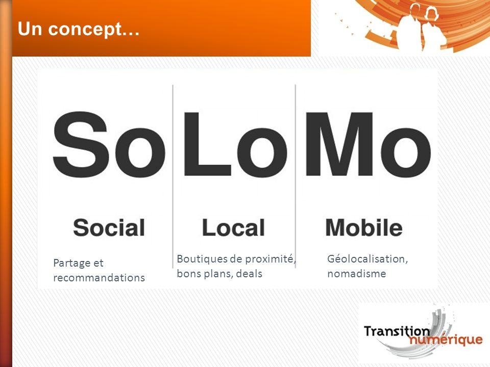 Un concept… Partage et recommandations Boutiques de proximité, bons plans, deals Géolocalisation, nomadisme