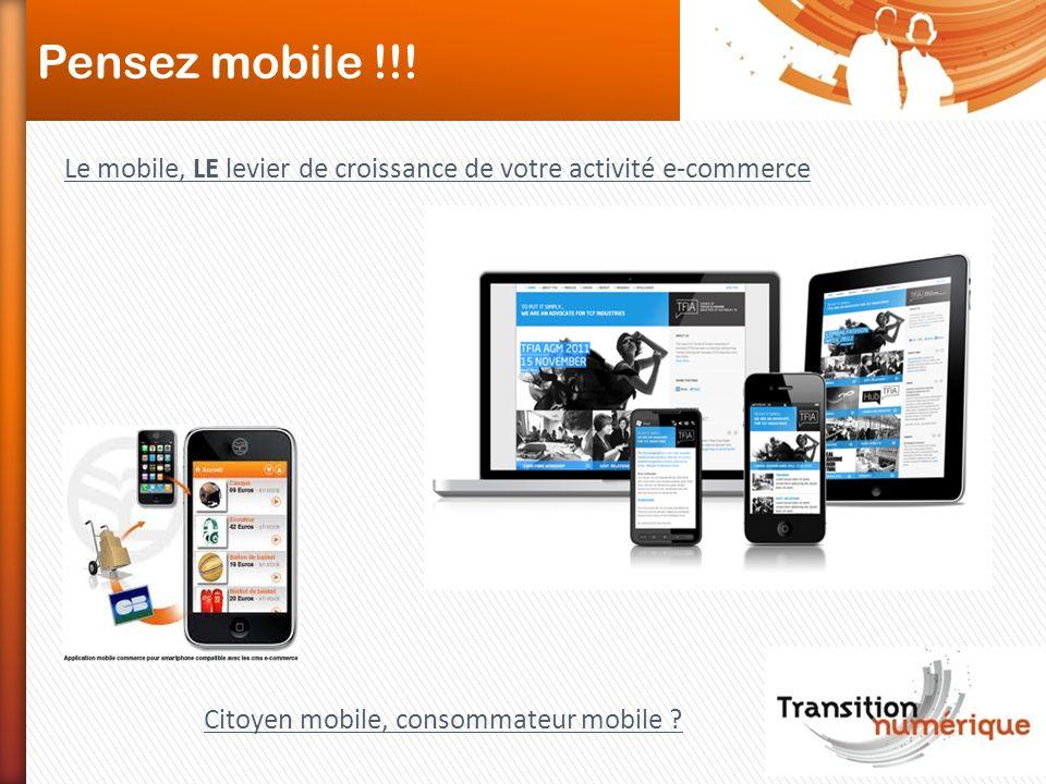 Pensez mobile !!! Le mobile, LE levier de croissance de votre activité e-commerce Citoyen mobile, consommateur mobile ?