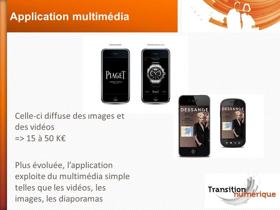 Application multimédia Celle-ci diffuse des images et des vidéos => 15 à 50 K Plus évoluée, lapplication exploite du multimédia simple telles que les