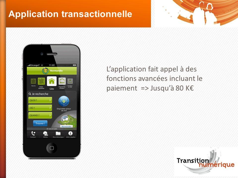 Application transactionnelle Lapplication fait appel à des fonctions avancées incluant le paiement => Jusquà 80 K