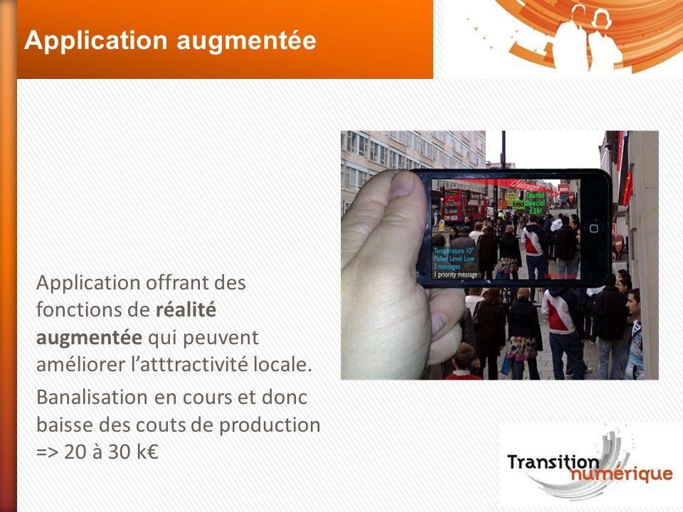 Application augmentée Application offrant des fonctions de réalité augmentée qui peuvent améliorer latttractivité locale. Banalisation en cours et don